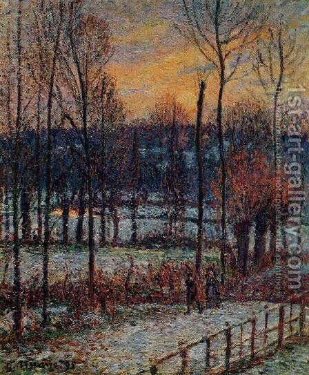 The Effect of Snow Sunset Eragny  1895 by Camille Pissarro - Reproduction Oil Painting