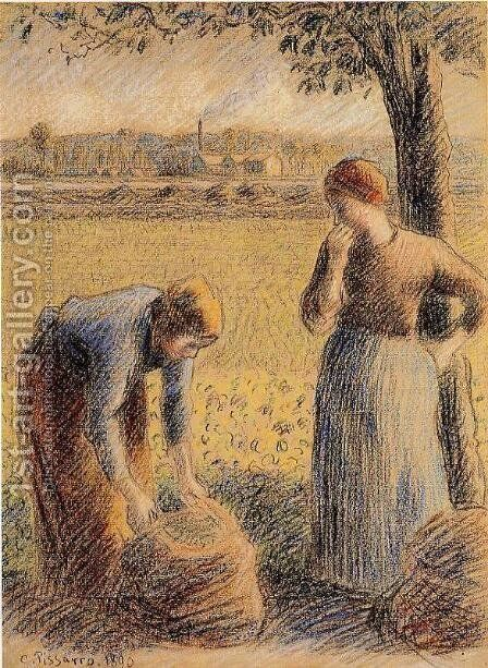 The Harvest  1890 by Camille Pissarro - Reproduction Oil Painting