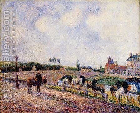 The Pontoise Bridge  1891 by Camille Pissarro - Reproduction Oil Painting