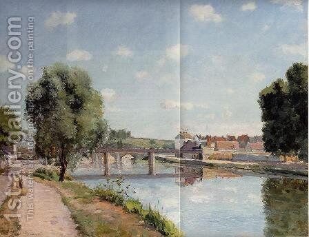 The Railroad Bridge at Pontoise  1873 by Camille Pissarro - Reproduction Oil Painting