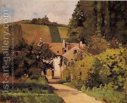Village Street Pontoise  1868 by Camille Pissarro - Reproduction Oil Painting