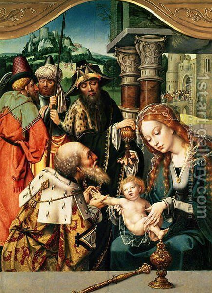 The Adoration of the Magi by Jan (Mabuse) Gossaert - Reproduction Oil Painting