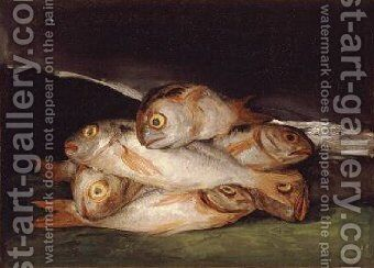 Still Life with Golden Bream 1808 12 by Goya - Reproduction Oil Painting