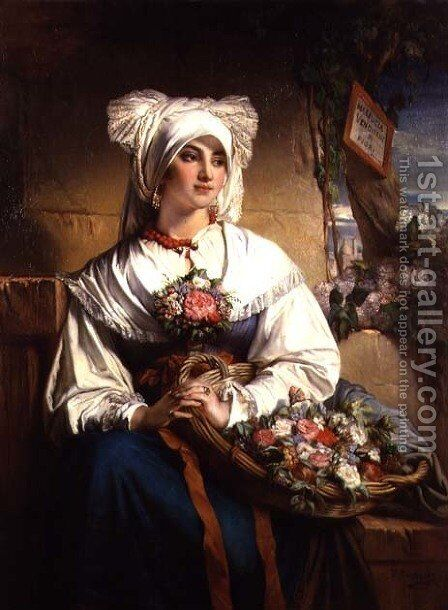 A Trieste Flowergirl by Jean-Francois Portaels - Reproduction Oil Painting