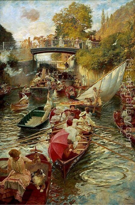 Boulter's Lock Sunday Afternoon 1895 by Edward John Gregory - Reproduction Oil Painting