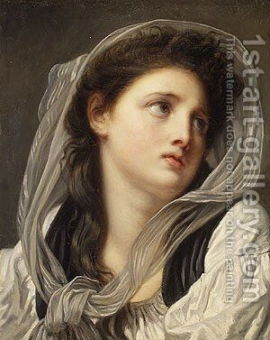 Head of a Young Woman mid 1770s by Jean Baptiste Greuze - Reproduction Oil Painting