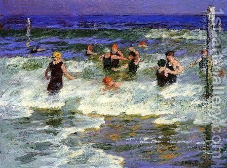 Bathers in the Surf -2 by Edward Henry Potthast - Reproduction Oil Painting