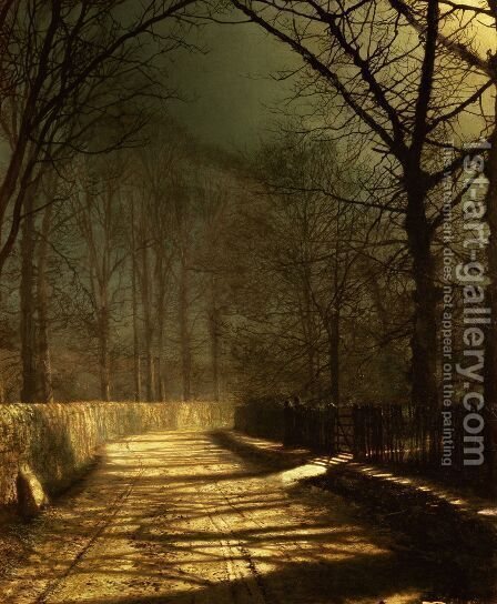 A Moonlit Lane with two lovers by a gate by John Atkinson Grimshaw - Reproduction Oil Painting