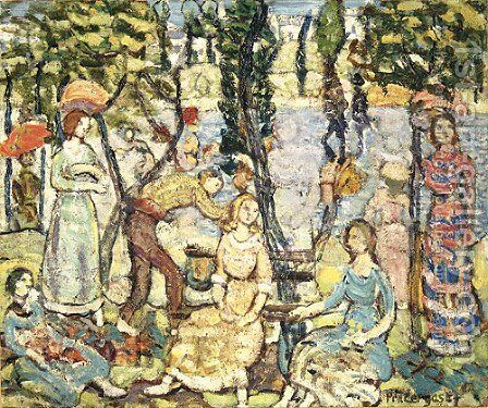 Group of Figures by Maurice Brazil Prendergast - Reproduction Oil Painting