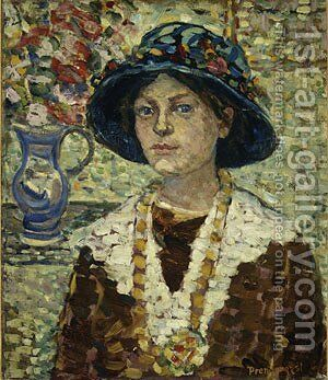 Portrait of a Girl with Flowers by Maurice Brazil Prendergast - Reproduction Oil Painting