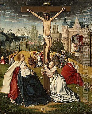 The Crucifixion ca 1495 by Jan Provost - Reproduction Oil Painting