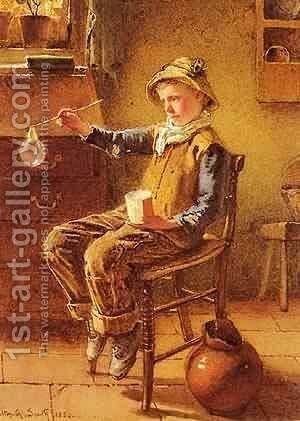 Blowing Bubbles by Bela Uitz - Reproduction Oil Painting