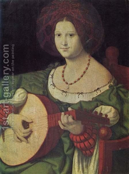 The Lute Player by Andrea Solario - Reproduction Oil Painting