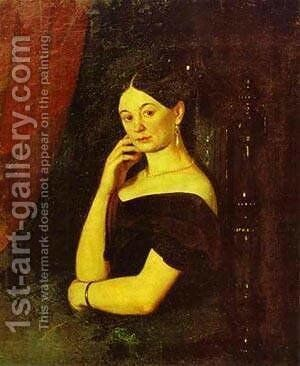 Portrait Of Anna Petrovna Milyukova 1850 by Grigori Vasilievich Soroka - Reproduction Oil Painting