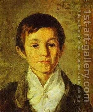 Portrait Of Km Milyukov As A Child End Of 1840s by Grigori Vasilievich Soroka - Reproduction Oil Painting