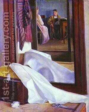 Reflection In The Mirror Second Half Of 1840s by Grigori Vasilievich Soroka - Reproduction Oil Painting