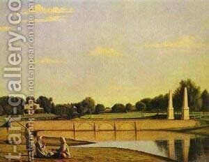 View Of The Dam In The Estate Of Spasskoe 1840s by Grigori Vasilievich Soroka - Reproduction Oil Painting