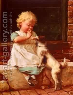 A Young Girl And Her Dog by Bela Veszelszky - Reproduction Oil Painting
