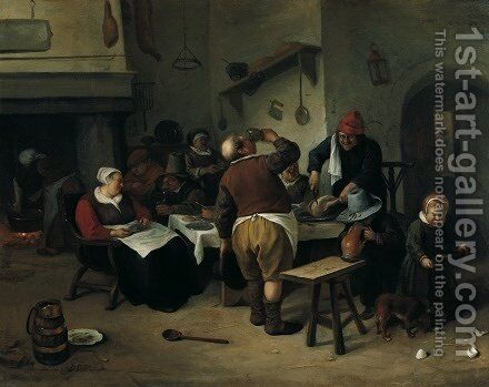 The Fat Kitchen c 1665 1670 by Jan Steen - Reproduction Oil Painting