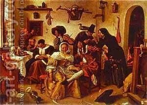 The World Upside Down 1663 by Jan Steen - Reproduction Oil Painting