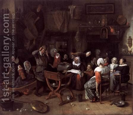 Twin Birth Celebration 1668 by Jan Steen - Reproduction Oil Painting