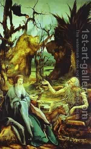 St Anthony Visiting St Paul The Hermit In The Desert 1512-15 by Matthias Grunewald (Mathis Gothardt) - Reproduction Oil Painting