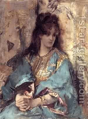 A Woman Seated in Oriental Dress by Aime Stevens - Reproduction Oil Painting