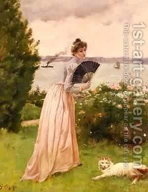 La Dame A L Eventail by Aime Stevens - Reproduction Oil Painting