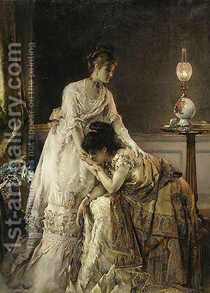 After the Ball 1874 by Alfred Stevens - Reproduction Oil Painting