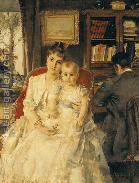 All Happiness by Alfred Stevens - Reproduction Oil Painting