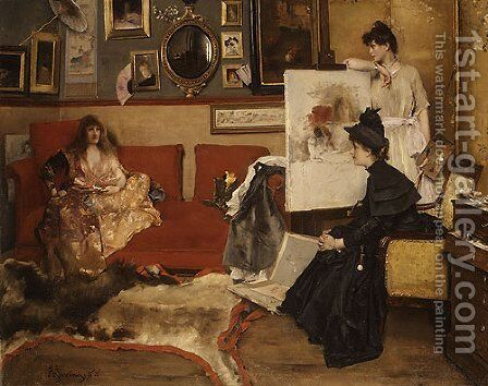 In the Studio 1888 by Alfred Stevens - Reproduction Oil Painting