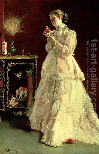 The Lady in Pink 1867 by Alfred Stevens - Reproduction Oil Painting