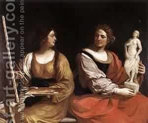 Allegory Of Painting And Sculpture 1637 by Guercino - Reproduction Oil Painting