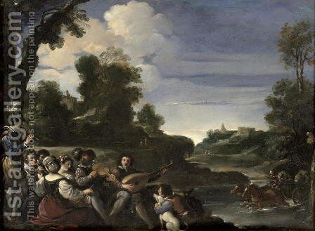 Concert Champetre 1617 by Guercino - Reproduction Oil Painting