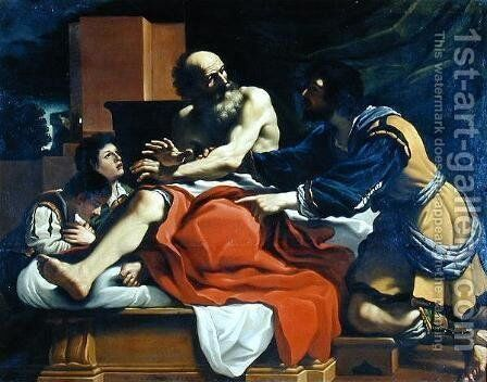 Jacob Ephraim and Manasseh by Guercino - Reproduction Oil Painting