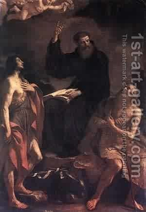 St Augustine St John The Baptist And St Paul The Hermit by Guercino - Reproduction Oil Painting
