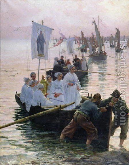 The Arrival of the Procession of St Anne from Fouesnant to Concarneau 1887 by Alfred Guillou - Reproduction Oil Painting