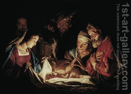 The Adoration of the Shepherds c 1640 1650 by Matthias Stomer - Reproduction Oil Painting