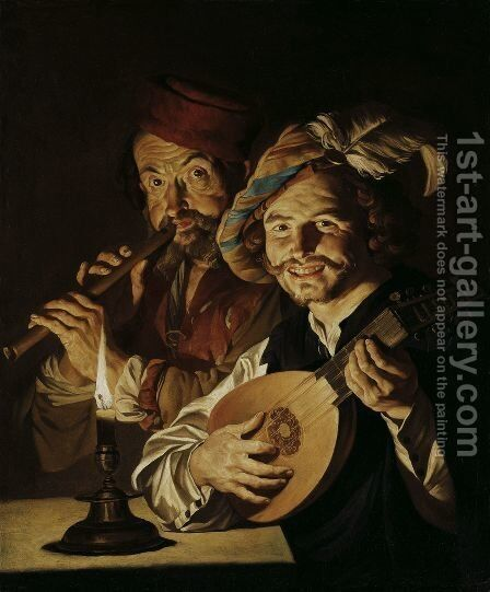The Lautenist and the Flautist 1640 1650 by Matthias Stomer - Reproduction Oil Painting