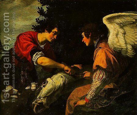 Tobias and the Angel by Jacopo Vignali - Reproduction Oil Painting