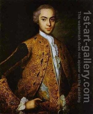 Portrait Of A Young Man 1750s by Ivan Vishnyakov - Reproduction Oil Painting
