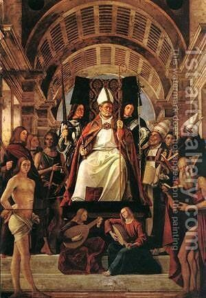 Altarpiece Of St Ambrose 1503 by Bartolomeo Vivarini - Reproduction Oil Painting