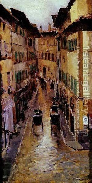 A Florence Street In The Rain 1888 by Bernardo Strozzi - Reproduction Oil Painting