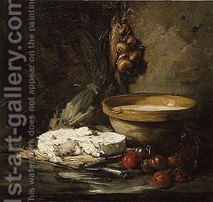 Still Life with Cheese probably late 1870s by Antoine Vollon - Reproduction Oil Painting