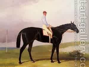 Ellinton A Dark Bay Racehorse With Tom Aldcroft by Harry Hall - Reproduction Oil Painting