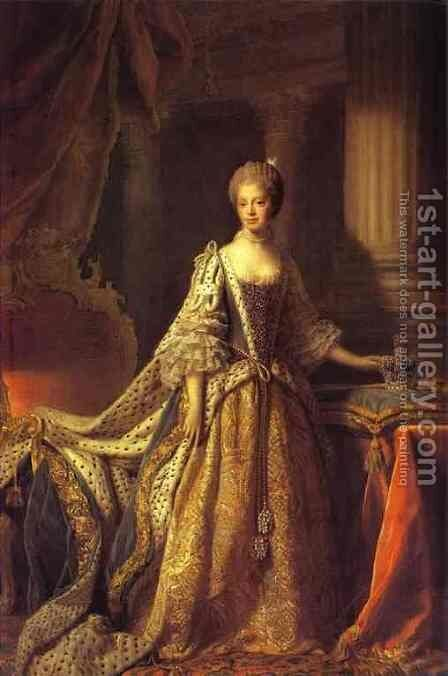 Portrait Of Queen Charlotte 1761-62 by Allan Ramsay - Reproduction Oil Painting