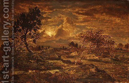 Sunset near Arbonne ca 1860 by Allan Ramsay - Reproduction Oil Painting