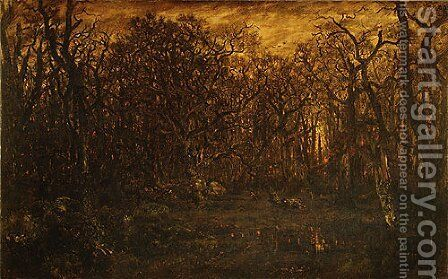 The Forest in Winter at Sunset 1845 by Allan Ramsay - Reproduction Oil Painting