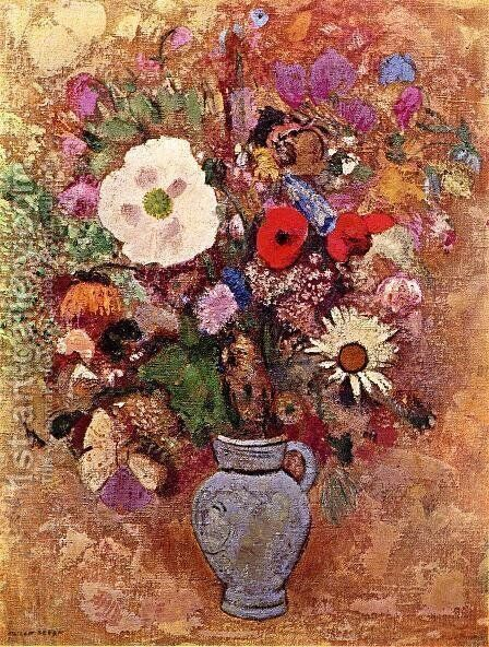 Vase of Flowers 1903-1905 by Odilon Redon - Reproduction Oil Painting