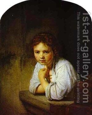 A Young Girl Leaning On A Window Sill 1645 by Harmenszoon van Rijn Rembrandt - Reproduction Oil Painting